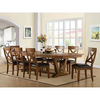 Bolton 9 Piece Dining Set Table And 8 Dining Chairsplank Style Table Top Constructed Of Rubberwood Bayside Furnishings Dining Room Makeover Kitchen Dining Sets