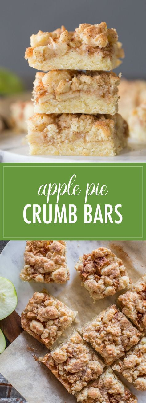 Your favorite apple pie meets a tender, sweet, buttery crumb bar. These will make your house smell like fall came for a visit! #crumbbars #applepie #dessert