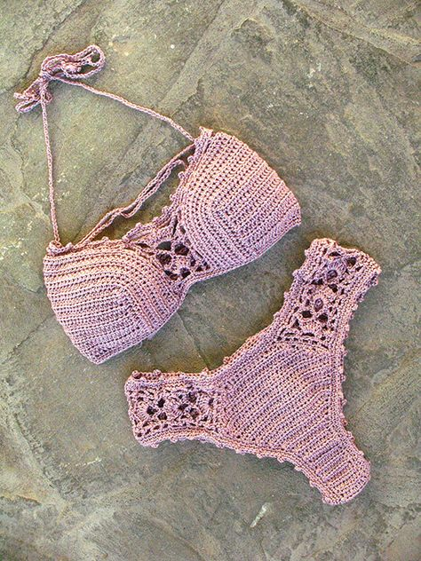 Lujo bikini de ganchillo en color rosa pálido regalo por MarryG