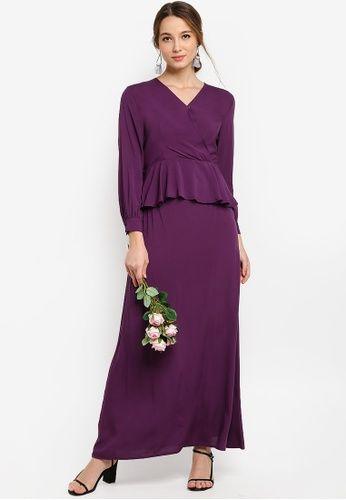 Smock Shoulder Wrap Top Kurung from Lubna in Purple - BAJU KURUNG MODEN