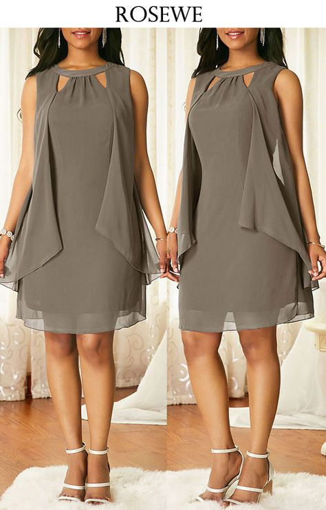 Grey Sleeveless Keyhole Neckline Chiffon Dress