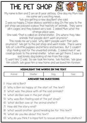 The Pet Shop Reading Comprehension Passage With Images