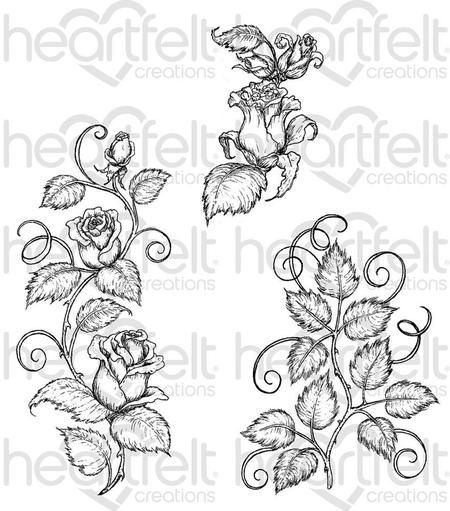 Heartfelt Creations Rose Vines Cling Rubber Stamp