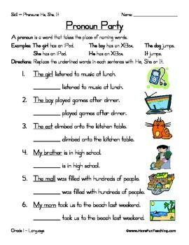 Pronoun Worksheet   Pronoun worksheets, Have fun teaching ...
