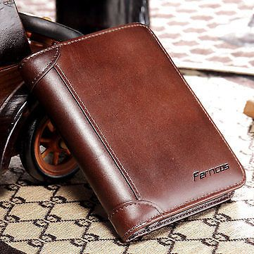 5e066425673a1 Hot-sale Ferricos RFID Antimagnetic Genuine Leather Vintage Tri-fold Large  Capacity Short Wallet For Men - NewChic Mobile