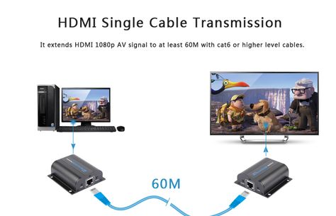 1080P HDMI Ethernet Cable Extender extend HDMI AV signal to 60m over Cat5e//6 3D