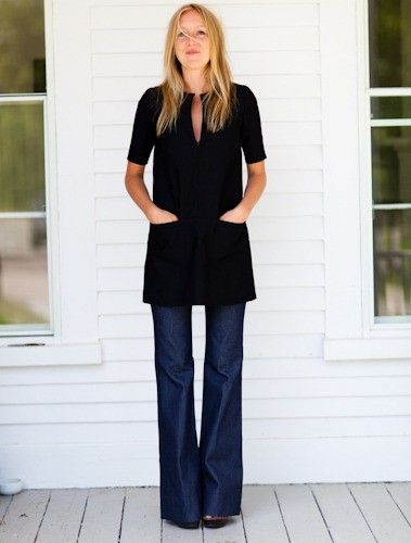 Emerson Fry black tunic and wide legged jeans