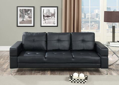 Poundex F6830 Nathaniel Iii Black Faux Leather Futon Sofa Bed With Arms With Images Futon Sofa Futon Sofa Bed Leather Sofa