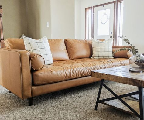 I M Sharing My Honest Thoughts On Our Leather Couch Including Best Cleaning Leather Couches Living Room Leather Sofa Living Room Tan Leather Couch Living Room