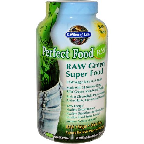 Garden Of Life Raw Perfect Food Green Superfood Juiced Greens Powder 240 Vegan Capsules With Images Perfect Food Green Superfood Superfoods