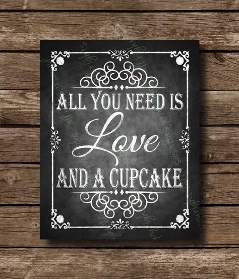Tout ce dont vous avez besoin est amour et un fichier imprimable Cupcake Chalkboard mariage signe - DIY téléchargement et impression- on Etsy, 6,78$ CAD