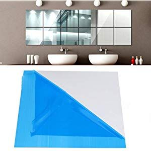 25pcs Diy Square Mirror Wall Stickers 15cm Self Adhesive Tiles 3d Mirror Decor For Diy Acrylic Home Decor Mirror Wall Mirror Wall Stickers Mirror Design Wall