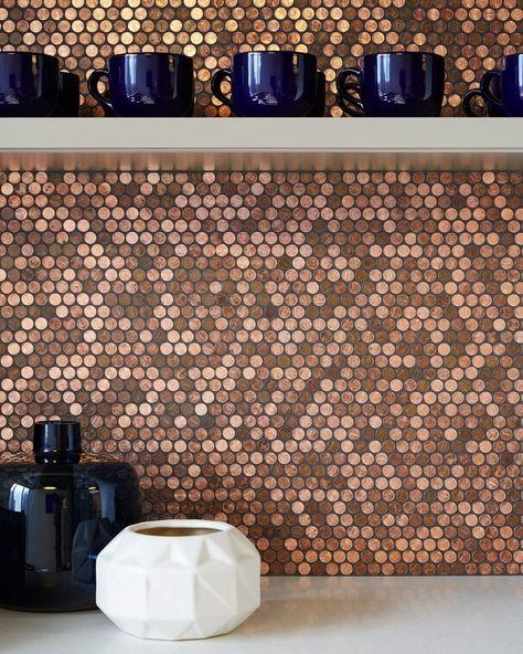 Modwalls Real Penny Mosaics Round Metallic Copper Mosaic Tile Bar Backsplash Installation Office Design Pinterest And Rounding