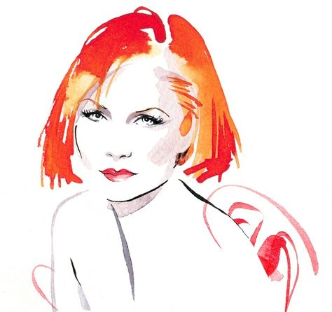 Woman hair style illustration by Katharine Asher