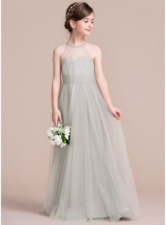 c335163b5c0 A-Line Princess Scoop Neck Floor-Length Ruffle Zipper Up Spaghetti Straps  Sleeveless No Other Colors General Tulle Junior Bridesmaid Dress