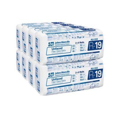 Johns Manville R 19 Unfaced Fiberglass Insulation Batt 24 In X 48 In 8 Bags Au333 Fiberglass Insulation Insulation Cost Batt Insulation