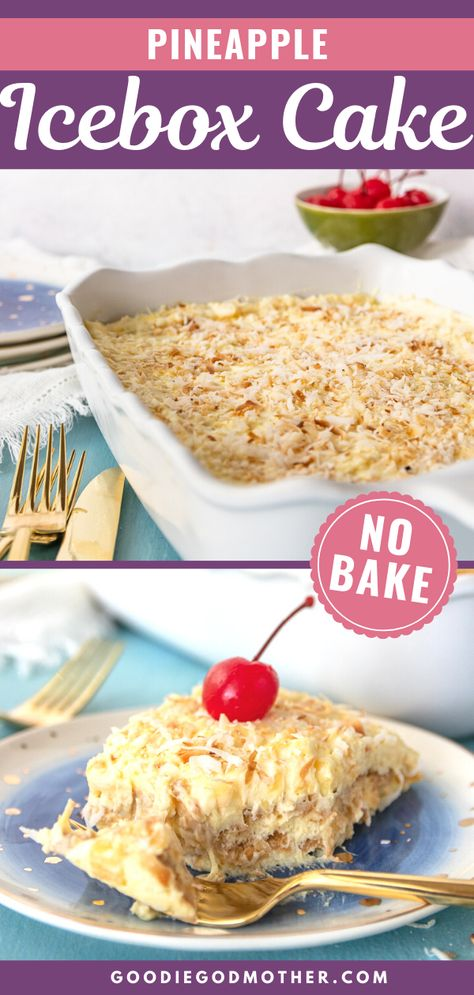 Stay cool and whip up a delicious sweet treat with this pineapple icebox cake recipe! It's easy to assemble this dessert in minutes, then chilled until ready to serve! This is a great dessert for a summer barbecue.#nobake #easydessert #pineapple #iceboxcake #dessertrecipe
