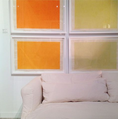 Silkscreened color block prints from Natural Curiosities are a simple, beautiful way to add a range of hues to a room, perfect for building a grid-formatted gallery wall. Natural Curiosities, Interhall