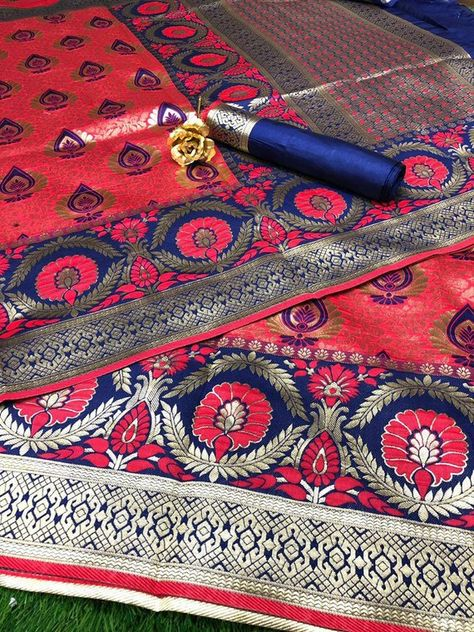 2fcca22183 Smooth *Banarasi Silk* Saree With *Rich Pallu* *Heavy Jal* In All Over Saree  With Contrast *Blouse* Saree: 5.5 meter Blouse 0.9 meter ( We can stitch  blouse ...