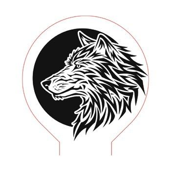 Wolf And Moon 3d Illusion Lamp Plan Vector File Op For Laser And Cnc 3bee Studio Illusions 3d Illusions 3d Illusion Lamp