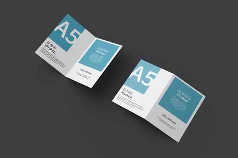 A5 Bifold Brochure Mockup Top View by IanMikraz on Envato Elements