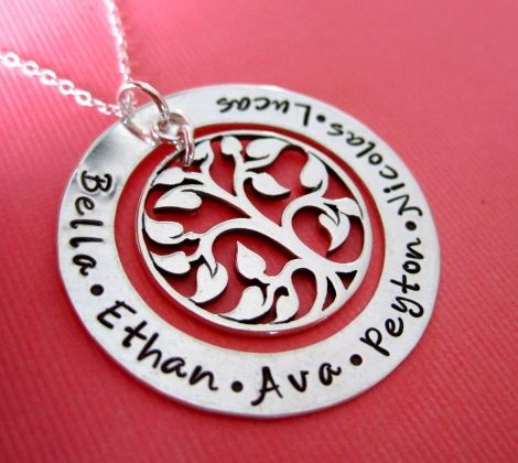 The Ultimate Tree of Life - Family Names Sterling Silver Handstamped Necklace - Large