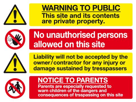 Warning to the public Notice to the parents multi purpose sign