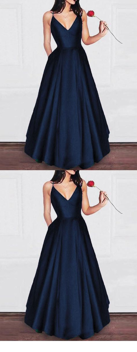 Elegant Dark Green A Line Satin Prom Gown Long Graduation Party Dresses with Pocket - navy blue satin A Line Long Prom Graduation party Dress Sie sind an der richtigen Stelle für  decor - #dark #dressforwork #dresspatterns #Dresses #Elegant #Gown #Graduation #graduationdress #green #Line #long #longdress #maxidress #Party #Pocket #prettydress #prom #satin #springdress
