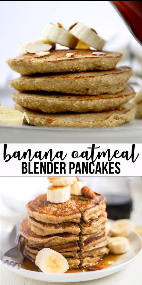 Banana oatmeal pancakes are sweetened naturally and made with no flour. Blender pancakes are easy an easy and healthy  breakfast recipe. Top these healthy banana oat pancakes with fresh fruit, nuts, almond butter or syrup and serve! #oatmeal #banana #pancakes #healthy #breakfast #glutenfree #dairyfree #easy