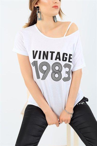 19 95 Tl Beyaz Tek Kol Askili Bayan Tisort 37045 Modamizbir 2020 Moda Stilleri Mankenler Tisort