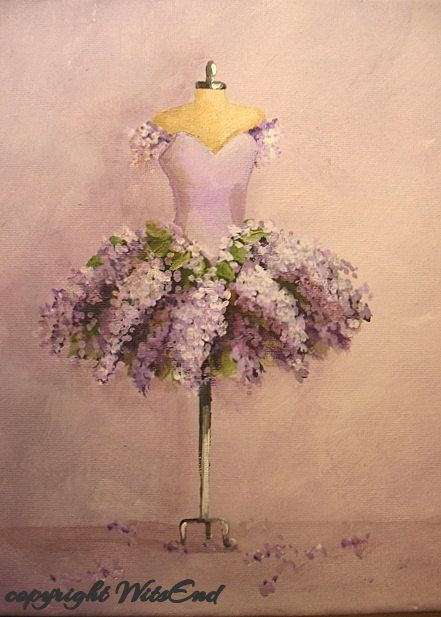 'THE LILAC TUTU'. Lilac Tutu painting  original ooak ballet costume Flowers series by 4WitsEnd, via Etsy