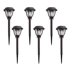 Hampton Bay Solar Bronze Outdoor Integrated Led Landscape Path Light With Water Patterned Lens 6 Pack Nxt 74006 In 2020 Hampton Bay Path Lights Solar Landscape Lighting
