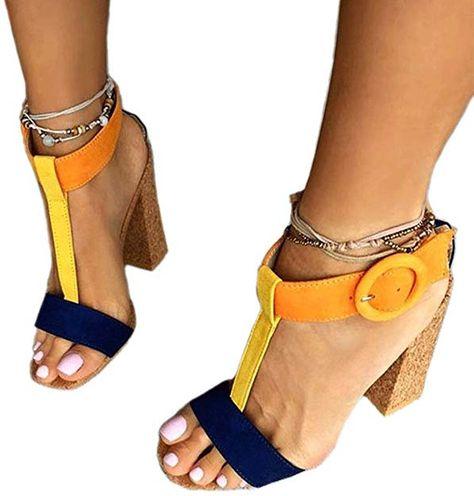 5e61d11e0c JF shoes Women's Summer T-Shaped Wood-Tone Buckle Block Suede Open Toe Heel  Pump Sandals