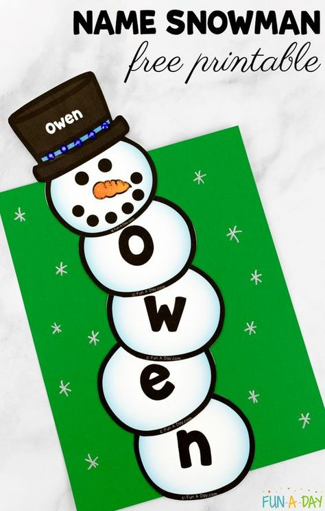 Free printable name snowman for preschool and kindergarten Preschool kids can practice their names while making a name snowman. This activity incorporates arts, crafts, and literacy. There's even a free printable! Name Activities Preschool, Winter Activities For Kids, Preschool Lesson Plans, Winter Crafts For Kids, Free Preschool, Preschool Printables, Preschool Activities, Name Snowman, January Crafts