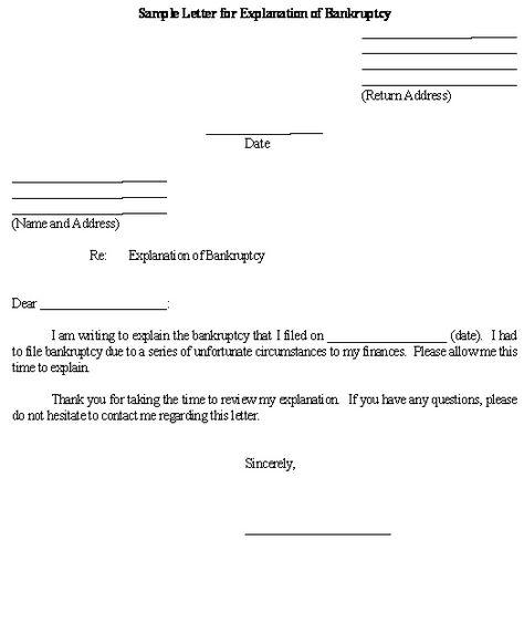 sample letter for explanation bankruptcy template business legal - generic affidavit