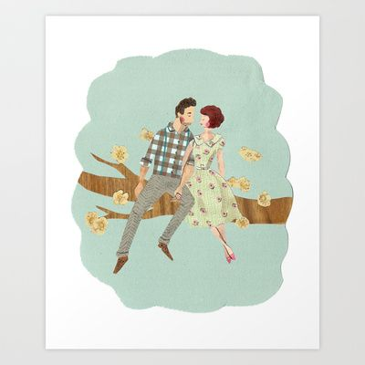 Lets do it, let's fall in love Art Print by Emma Block - $15.00