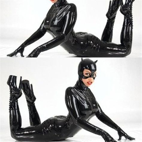 Patent+Leather+Catwoman+Costumes+Nightclub+DS+Club+Uniforms+Cat+Girl+Catsuit+with+Helmet