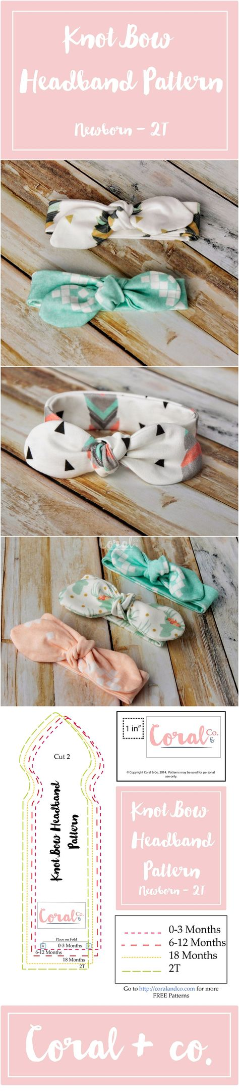 FREE Knotted Headband Pattern and Tutorial. Easy DIY Knit Knot Bow Headband Pattern comes in sizes Newborn - 2T. Check out more free patterns from Coral and Co.