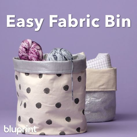DIY Fabric Bin: There's no better way to store your crafting gear than in a cute fabric bin — that you sewed yourself, of course. This is a great sewing project for beginners and also incredibly useful! #fabricbin #DIYfabricbin #fabricbininspiration #sewingproject #fabricbintutorial #sewingforbeginners #sewingprojects #mybluprint