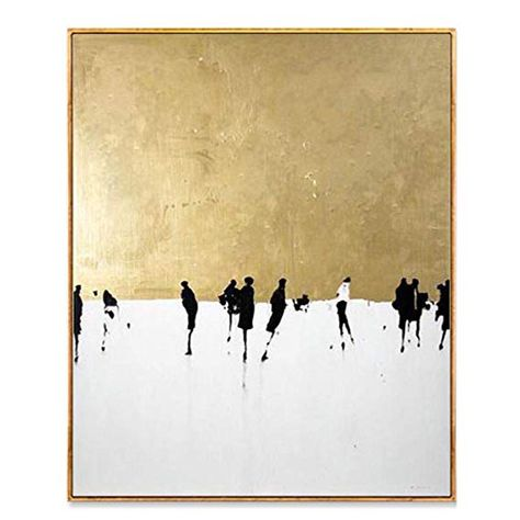 AIDAYU ART 100% Hand Painted Oil Painting On Canvas Abstract Dancing On Gold Snowing Square Artwork for Home Wall Decor Unframed (16x20 inch)