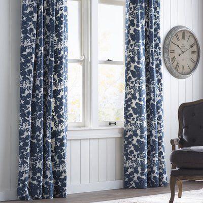 One Allium Way Hemsworth Blue Printed Floral Room Darkening Rod