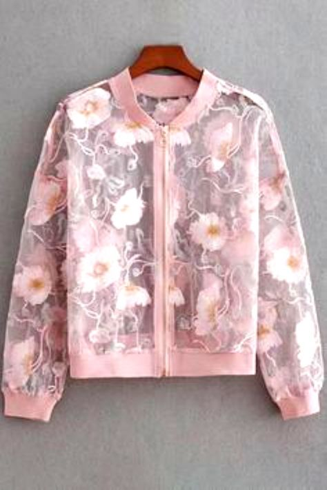 Floral Embroidered Sheer Zipped Front Long Sleeve Cropped Coat