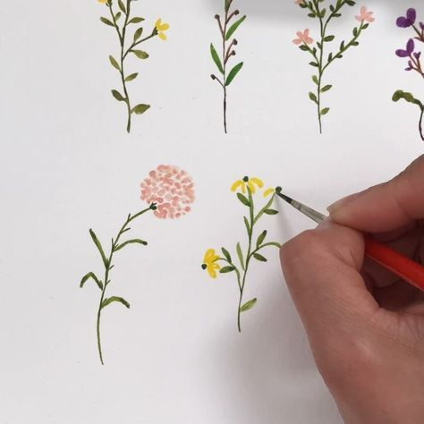 Dainty Wildflowers Tools Watercolor Flowers Tutorial Easy