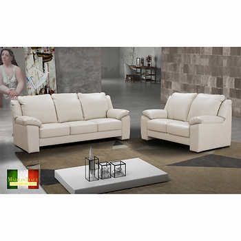 Strange Morandi White Top Grain Leather Sofa And Loveseat Made In Machost Co Dining Chair Design Ideas Machostcouk