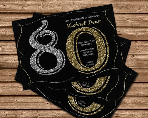 Printable 80th Birthday Invitations By PartyPrintExpress