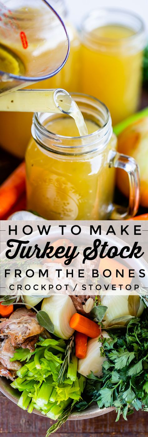 How to Make Turkey Stock from the Bones from The Food Charlatan. Learn how easy it is to make Turkey Stock from the bones of your Thanksgiving turkey! All you need is a picked over turkey carcass and some vegetables and herbs that you probably alre Turkey Soup From Carcass, Turkey Broth, Homemade Turkey Soup, Leftover Turkey Recipes, Turkey Stock Recipe, Soup Recipes, Healthy Recipes, Canning Recipes, Keto Recipes