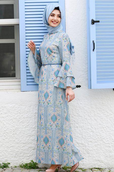 Yazlik Desenli Tesettur Kiyafet Modelleri Moda Tesettur Giyim Elbise Modelleri Elbise Giyim