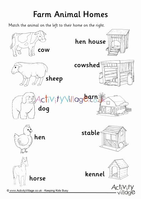 Animals And Their Homes Worksheets For Kids Free Farm Animal Homes Matchup Worksheet Animals And Their Homes Animal Worksheets Baby Farm Animals