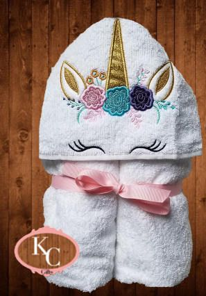 Personalized Hooded Towel Unicorn Bath Wrap Infant And Toddler