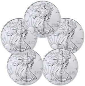 2017 1 Troy Oz American Silver Eagle Lot Of 5 Coins Sku44363 Http Rover Ebay Com Rover 1 711 Silver Eagle Coins American Silver Eagle Buy Gold And Silver